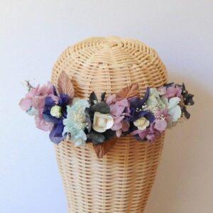 Corona de flores naturales Violeta