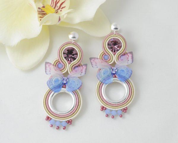 Pendientes Butterfly lila.