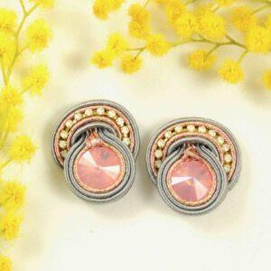 Pendientes Olalla gris y rosa.
