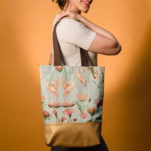 Bolso Tote Bag garzas mint.