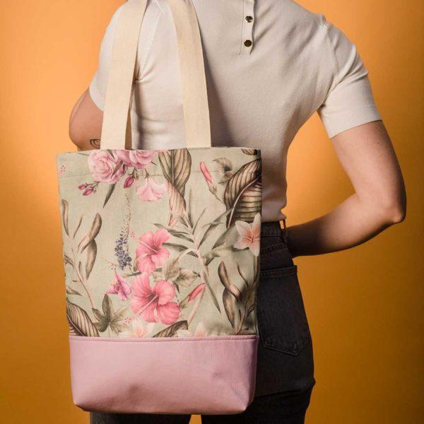Bolso Tote  Bag flores mint.
